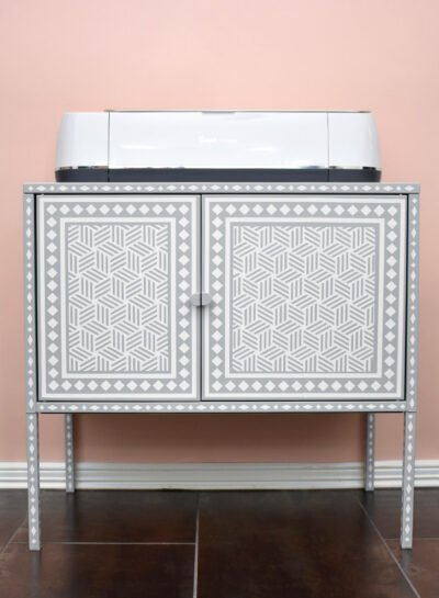 Turn a Lixhult into a Faux Bone Inlay Cabinet that will perfectly fit your Cricut cutting machine and materials in this awesome IKEA hack!