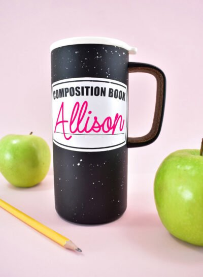 Looking for a quick and easy teacher appreciation gift? Personalize these adorable composition book mugs with your teacher's name!