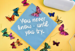 Start by gluing down most of your butterflies around the design including all of the largest ones.