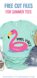 Looking forward to a summer by the pool? Grab the free SVG for this cool Pool Vibes Flamingo Float tee shirt that is too cute for words!