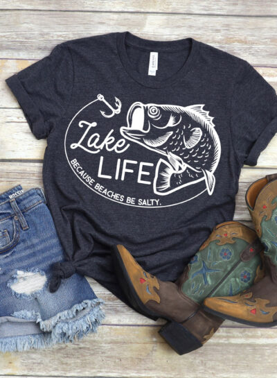 Come summer it's all about that Lake Life, isn't it? Have the coolest t-shirt at the lake this year with our free cut files because beaches be salty!