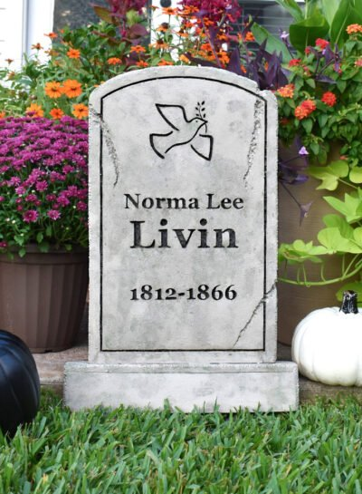 Love a little creepy and a lot cute? Learn how to make foam Halloween tombstones & snag the free printable designs we used that have the best Halloween tombstone names ever! Like Norma Lee Livin!