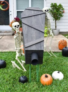 This 6-Foot Long COVID Friendly Halloween Candy Chute encourages social distancing for a safe and happy Halloween full of Trick or Treating! No expensive tools required!