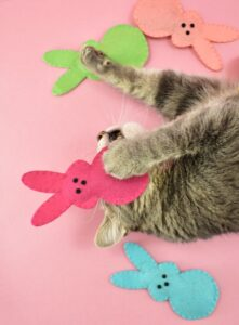 These Bunny Peeps Catnip Toys are the sweetest DIY you can make for your pet this spring and using acrylic craft felt, they're cheap, too!