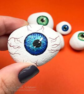 Halloween Crafts for Adults - Painted Eyeball Rocks by Carla Schauer Studio
